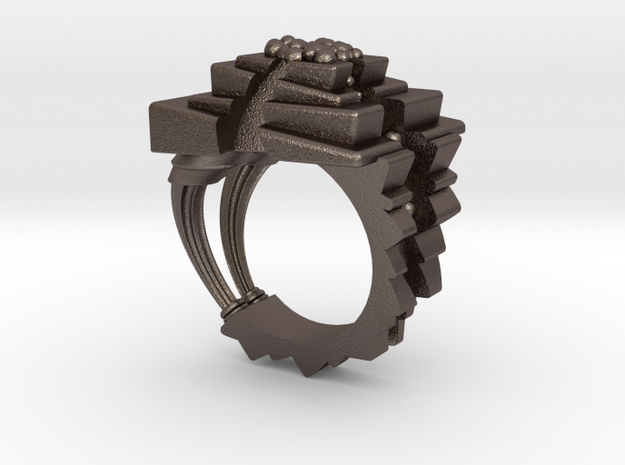 ArchitectureRing_Size8 in Polished Bronzed Silver Steel