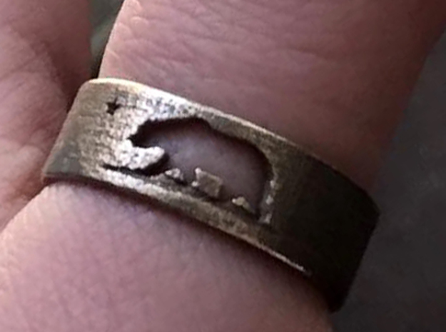 California Ring with Map (Size 9) in Polished Bronzed Silver Steel