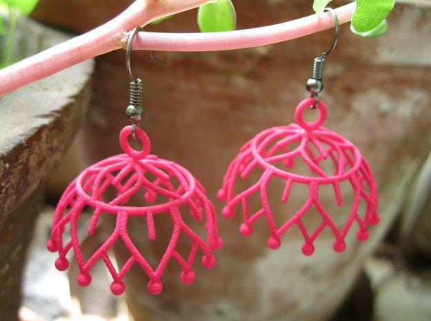 Lotus Jhumka - Indian Bell Earrings in Pink Strong & Flexible Polished