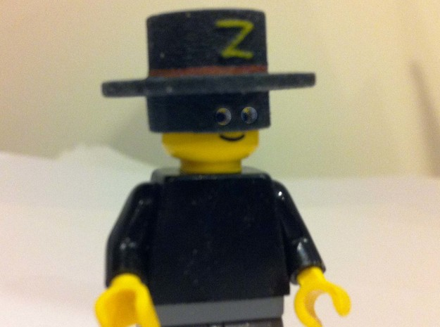 zorro hat for LEGO (3D painted) 3d printed