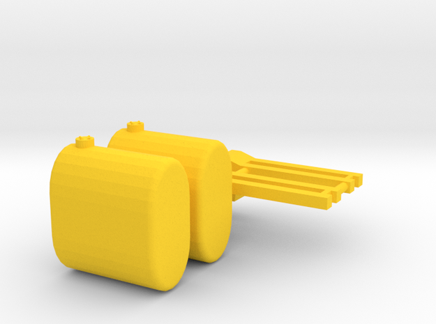 1/64 Brackets And saddle tankTanks in Yellow Processed Versatile Plastic