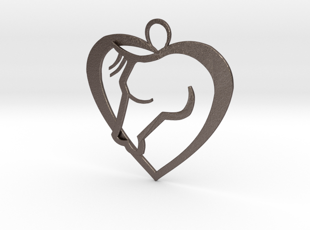 Heart Horse Pendant in Polished Bronzed Silver Steel
