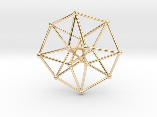 Toroidal Hypercube 35x1mm Spheres in 14k Gold Plated Brass