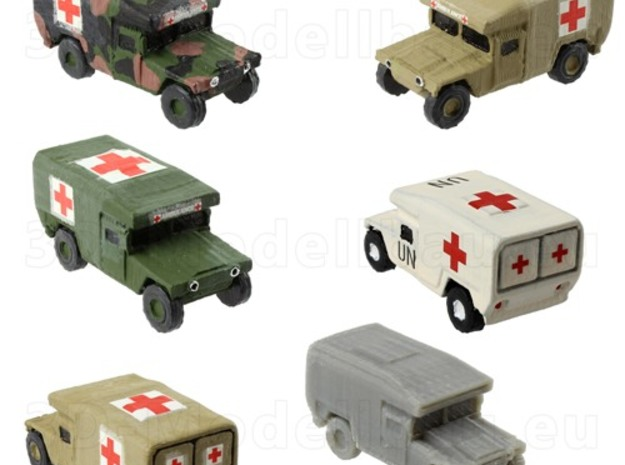 1/200 12mm scale US Army M997 Humvee HMMWV Hummer in White Natural Versatile Plastic
