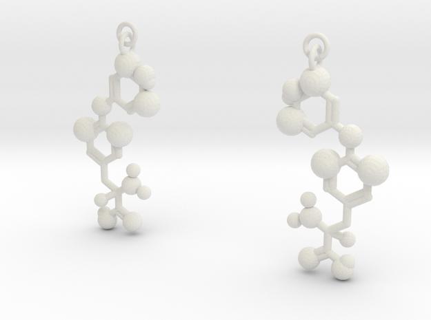Thyroxine (T4) Earrings in White Natural Versatile Plastic