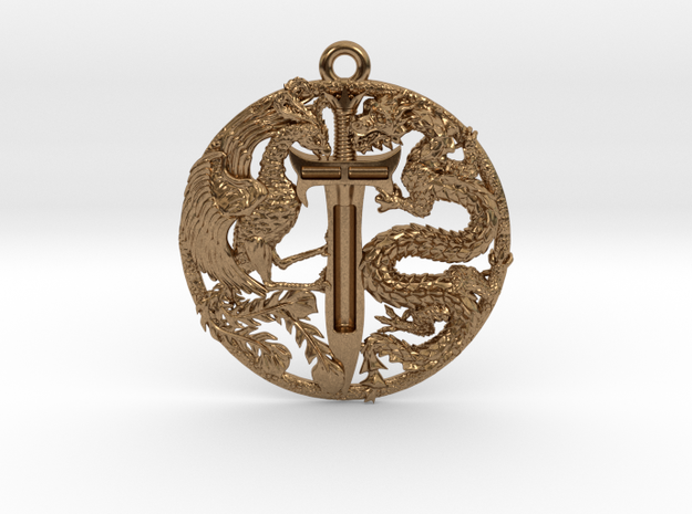 Dragon and Phoenix Pendant in Natural Brass