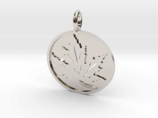 Leaf Pendant in Rhodium Plated Brass