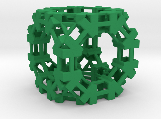 Open Cube D2 in Green Processed Versatile Plastic