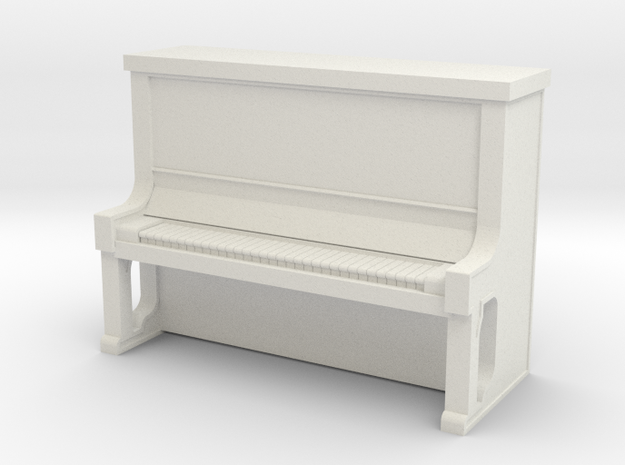 Piano Upright - HO 87:1 Scale in White Natural Versatile Plastic