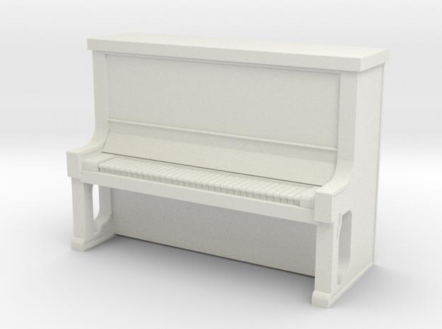 Piano Upright - HO 87:1 Scale in White Natural Versatile Plastic