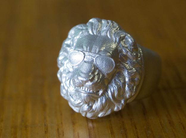 Lion Ring (man's) in Raw Silver