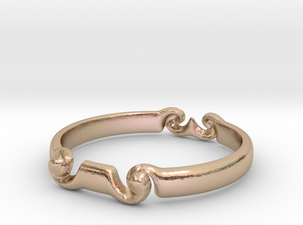 Spiral ring(size = USA 5.5)  in 14k Rose Gold Plated Brass