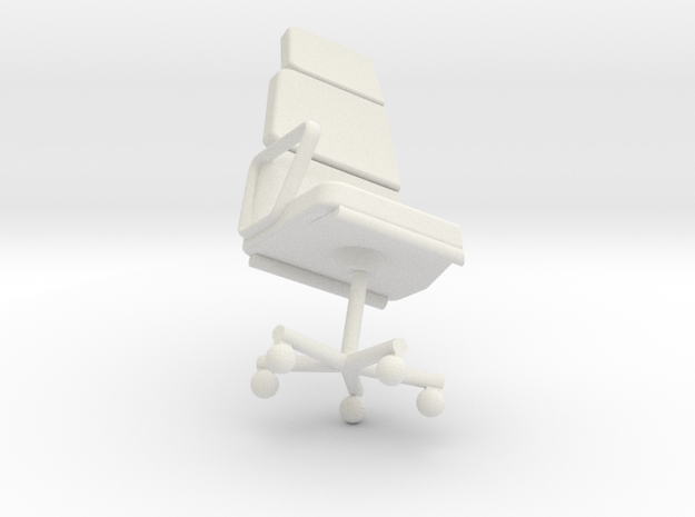Single Office Chair for Slanted Installation in White Natural Versatile Plastic