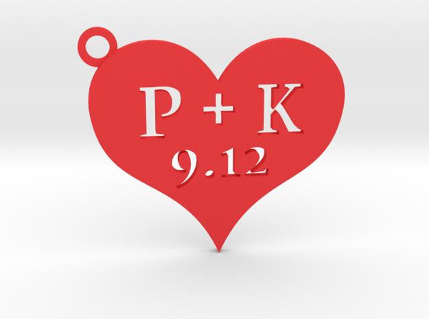 Love Heart Keychain custom in Red Processed Versatile Plastic
