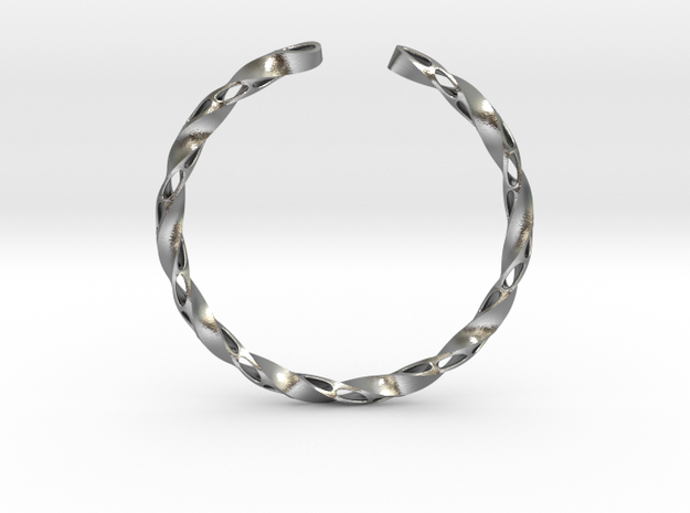 Twisted Pierced Bangle No.1 in Raw Silver