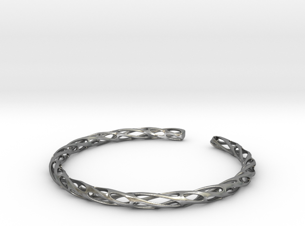 Twisted Pierced Bangle No.2 in Raw Silver