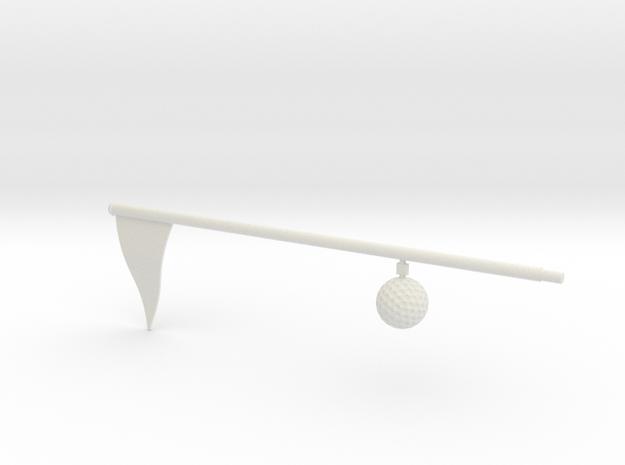 Flag And Ball - WHITE in White Natural Versatile Plastic