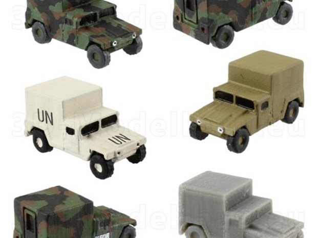 1/160 US Army M1037 Shelter Humvee HMMWV Hummer H1 in White Natural Versatile Plastic
