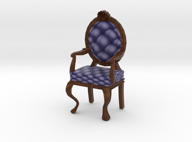 1:144 Micro Scale NavyDark Oak Louis XVI Chair in Full Color Sandstone