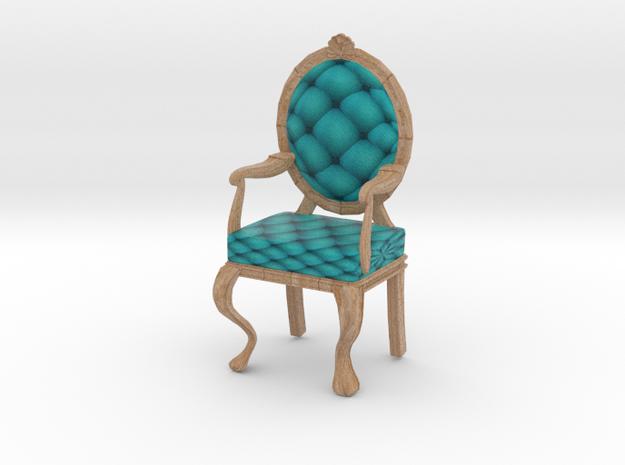 1:12 One Inch Scale TealPale Oak Louis XVI Chair in Full Color Sandstone