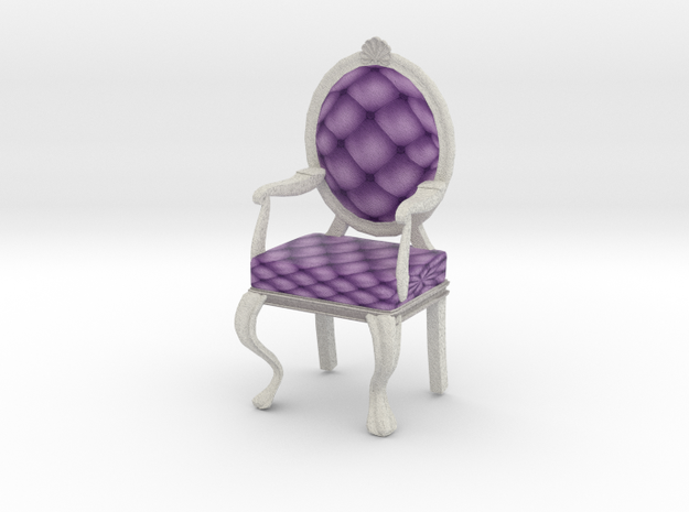 1:12 One Inch Scale LavWhite Louis XVI Chair in Full Color Sandstone