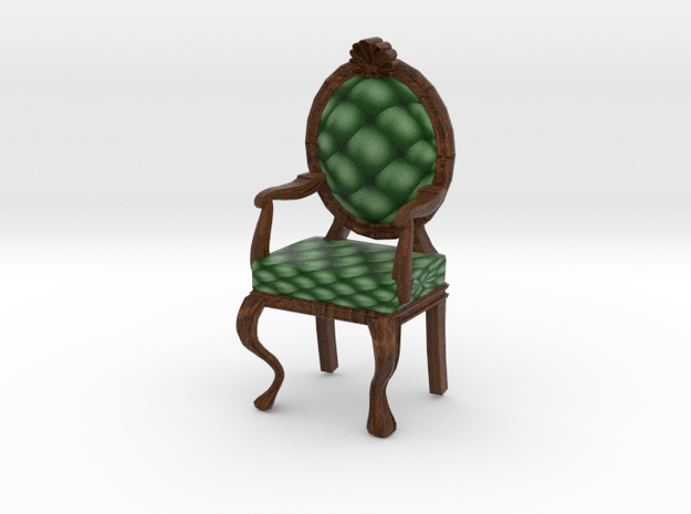 1:48 Quarter Scale PineDark Oak Louis XVI Chair in Full Color Sandstone