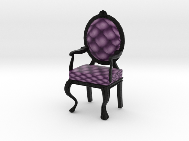 1:48 Quarter Scale VioletBlack Louis XVI Chair in Full Color Sandstone