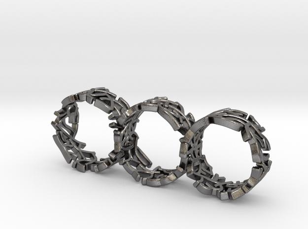 Triple Coral Rings in Polished Nickel Steel