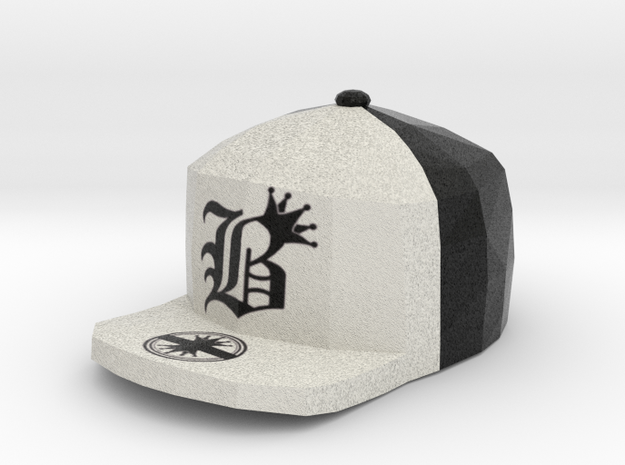 8 Bit King black and White Hat Pendant in Full Color Sandstone
