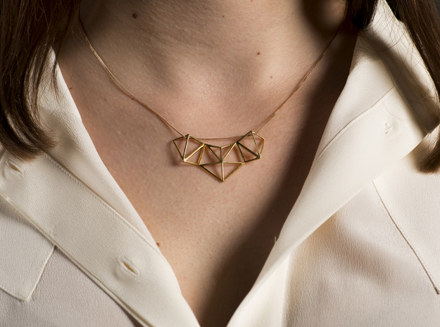VIELECK - geometric pendant necklace 4,5 x 2,5 cm in 18k Gold Plated Brass