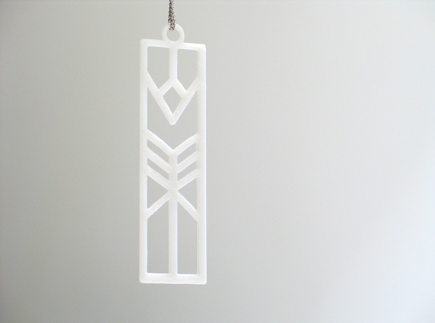Lilly Art Deco Pendant in White Natural Versatile Plastic
