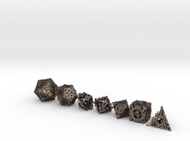 Steampunk Polyhedral Dice Set in Polished Bronzed Silver Steel