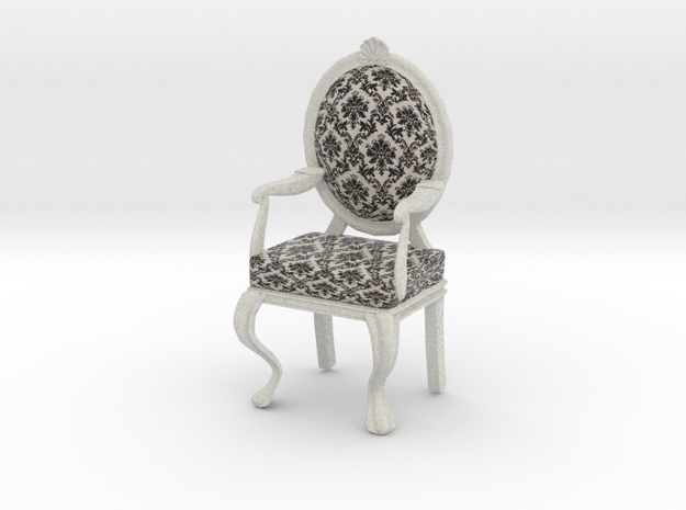 1:12 Scale Black Damask/White Louis XVI Chair