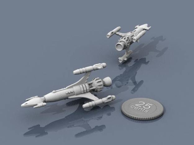 Privateer Antelope class Corsair 3d printed Renders of the model, with a virtual quarter for scale.