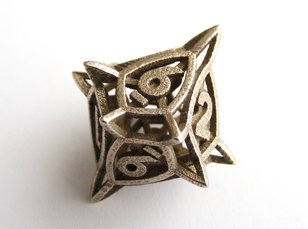 'Center Arc' dice, D10 balanced gaming die in Polished Bronzed Silver Steel