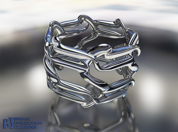 Cello S Circuit Ring in Polished Bronzed Silver Steel