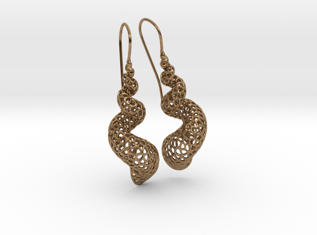 Turitella Shell Voronoi Fishhook Earring Pair in Raw Brass