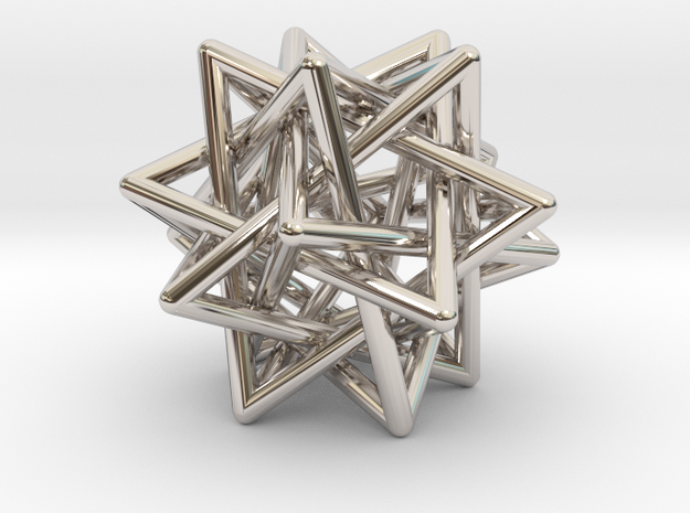 5 Tetrahedron earring in Rhodium Plated Brass