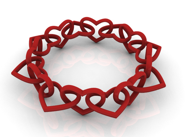 Heart Chain 60 in Red Strong & Flexible Polished