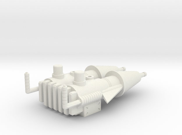 Prototype Turret Gun in White Strong & Flexible