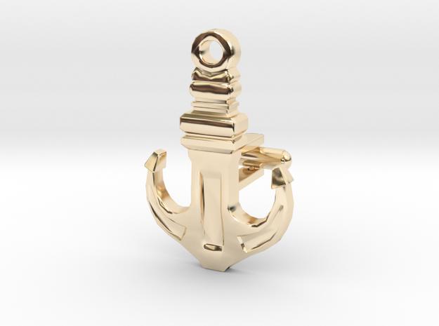 Anchor Cufflink in 14K Yellow Gold