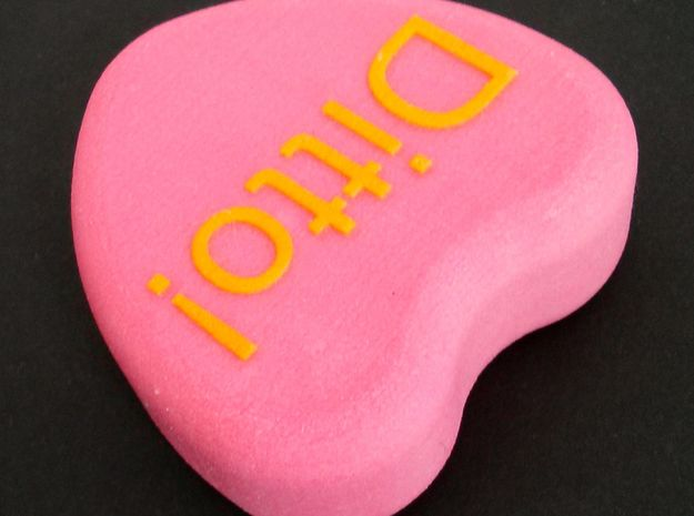 "Candy Heart ""Ditto!"" - Pink/Yellow 3d printed Top and side"