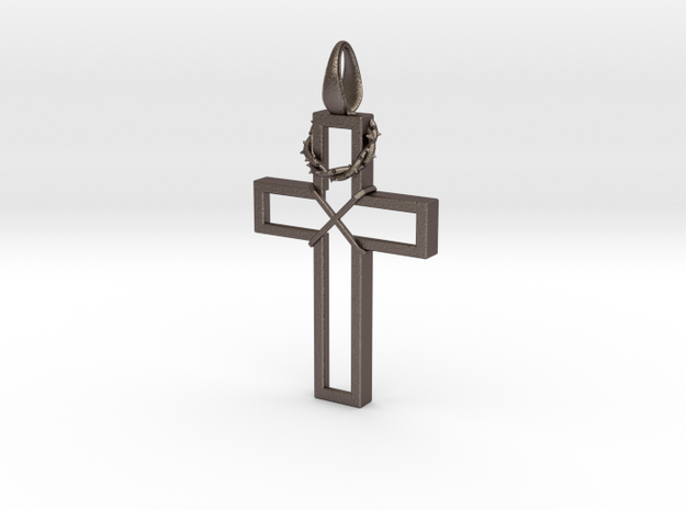 Cross & Thorns Frame Pendant in Stainless Steel