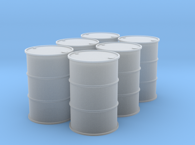 1/64 (Half Dozen) 55 Gal Drums in Smooth Fine Detail Plastic