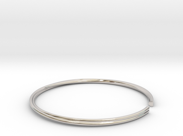 Mobius Hearts Bangle in Rhodium Plated Brass