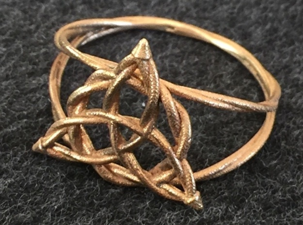 Woven triquetra (choose size) in Raw Bronze