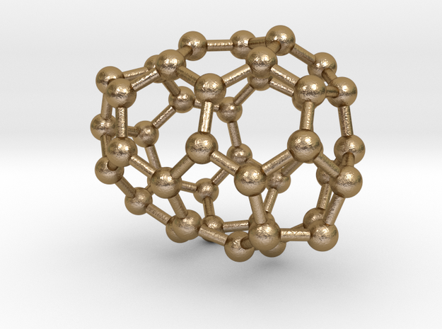 0190 Fullerene C42-7 c2 in Polished Gold Steel