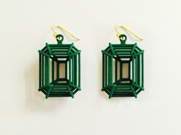 3D Printed Diamond Emerald Cut Earrings (Small)  in Green Processed Versatile Plastic