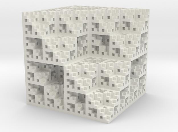 Eight Cubes Fractal Sponge in White Natural Versatile Plastic