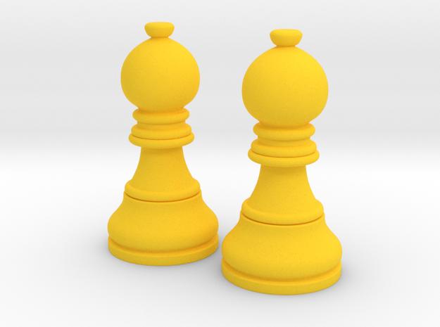 Pair Bishop Chess Big | Timur Picket Taliah in Yellow Processed Versatile Plastic
